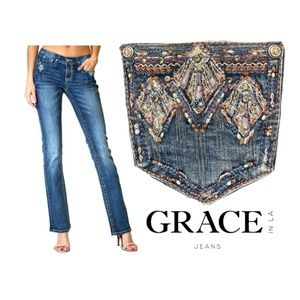 Grace in LA Bootcut Jeans Bling Pocket Tribal Emb